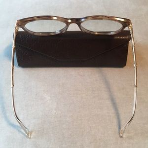 c6dd4483bd16 Gucci Accessories - Gucci 3780 Brown Horn Gold Bamboo Cat Eye Glasses